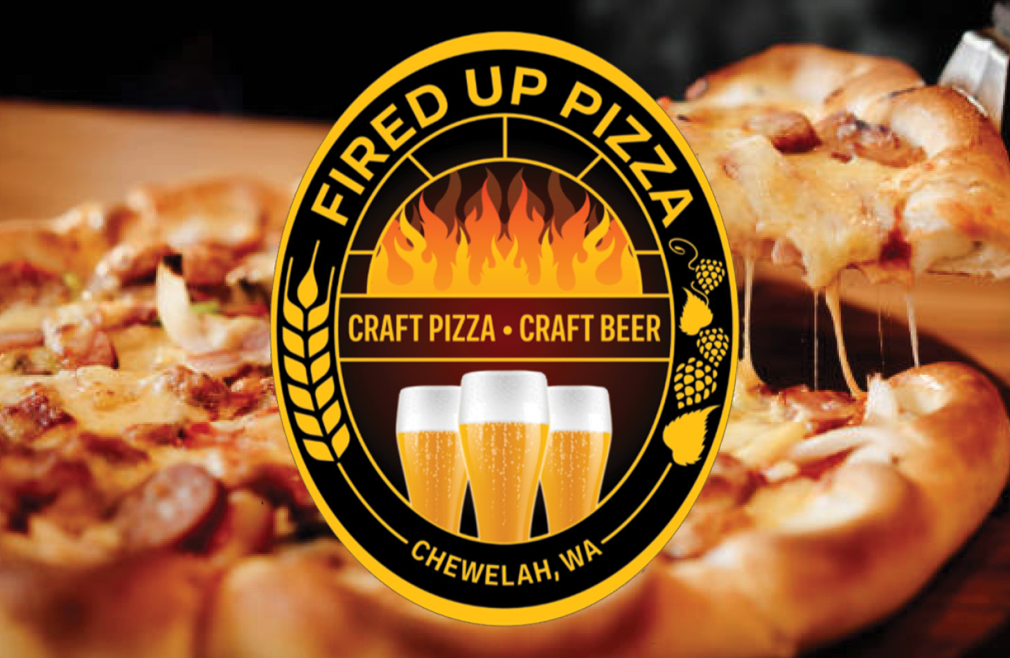 Fired up pizza logo